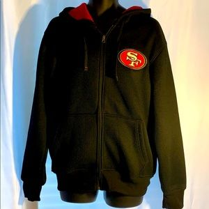 NFL SF Forty-NiNers Front ZipUp Black Medium Hood